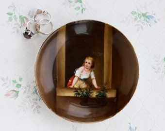 Ring Dish - Porcelain Ring holder - Young Lady at the Window - Antique Small Trinket Dish