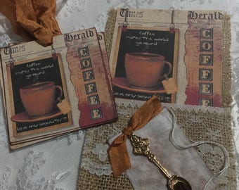XL Exclusive Burlap Pocket With ( Set of 6 ) Gift Tags, Collectables, Gift Item, Scrapbooks, Journals,