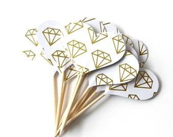 Diamond Heart Cupcake Toppers, Engagement Party, Wedding Decor, Bachellorette Party