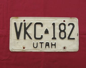Utah Vintage License Plate, 1974,  Black on White with Center Bee Hive