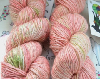 Hand dyed yarn, 100gms. DK weight. Pinks and greens