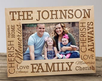 Engraved Family Name Wood Frame wooden picture frame, family picture frame, housewarming, photo frame -gfy9101621