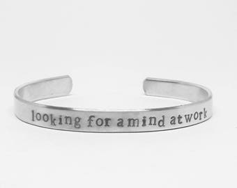 Looking for a mind at work: hand stamped aluminum Lin-Manuel Miranda Hamilton musical quote cuff by fandomonium
