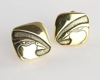 Laurel Burch Mynah Bird Earrings jewelry, black enamel gold 1980s vintage earrings