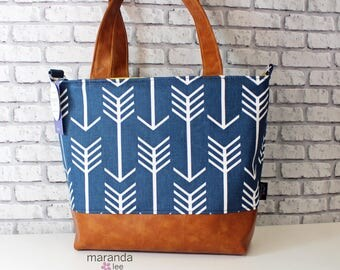 Lulu Large Tote Diaper Bag  Purse  - Navy Arrows and PU Leather  READY to SHIP  6 pockets