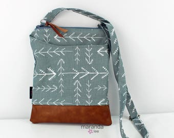 ZOE Messenger Cross Body Sling Bag - Native Grey PU Leather READY to SHIp  Ipad bag