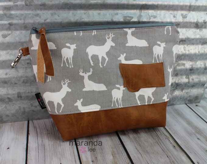 AVA Clutch -Large -Grey Deer with Montana Patch  READY to SHIp