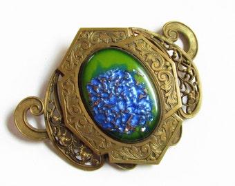 Large Antique Czech Green Blue Lava Art Glass Cabochon Brass Brooch 3 inches
