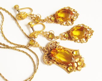 Vintage Deco Czech Yellow Amber Glass Necklace Earrings 1920s Gold Filled signed