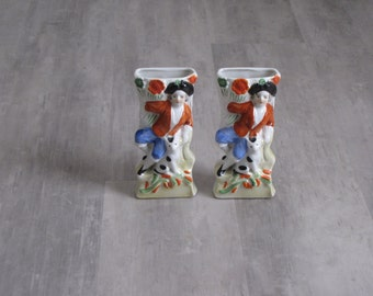 Vintage Pair of Hanging Wall Vases / Wall Pockets - Man with Dog
