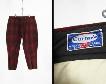 Vintage Carter's Hunting Breeches Red Wool Plaid Pants HW Carter & Sons - Size 36