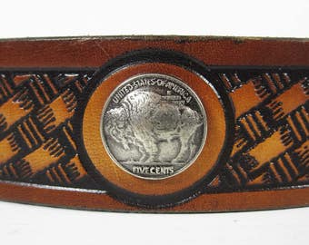 Vintage Buffalo Nickel Leather Belt Brown Stamped Leather Size 28