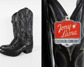 Vintage NOS Tony Lama Cowboy Boots Black Lizard Skin Stitched Buffalo Leather -  Size 9 1/2 D