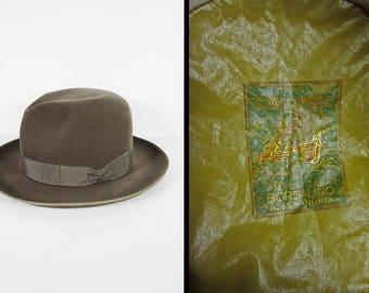 Vintage Borsalino Colombo Fedora Hat XX Grey Wool Salvatore Balbi Napoli - Size 7