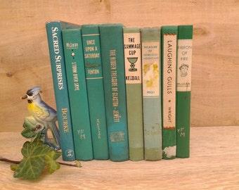 Vintage book collection - decorative books - jade green books - aqua books - photo prop - turquoise books - book collection - home decor