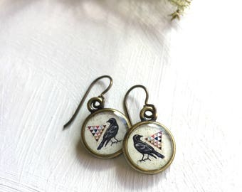 Crow and Quilt Triangle, Handcrafted Jewelry, Crow Earrings, Bird Art Jewelry, Raven Jewelry, Geometric Unique Earrings, Birder gift