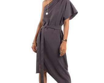 Grey dress, One shoulder dress, Midi evening dress, sleeveless dress : Prom Queen Collection 2
