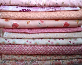 """PINK Quilt Fabric Charm Squares - 20 6"""" quilting charms or 25 5"""" squares - All Cotton - Spring Quilting Remnant Bundle"""