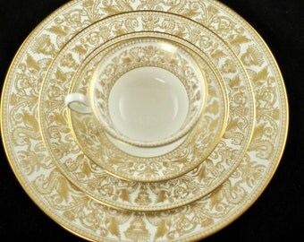 Vintage Wedgwood Gold Florentine Bone China Service for 12 - 84 Pieces