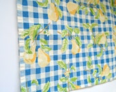 Vintage Cotton Pear Print Towel / Kitchen Towel / Hand Towel / Dish Towel / Blue Checked / Yellow Pears / Pear Tree / Pear Decor / Retro