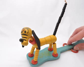 Antique 1930's Pluto Fisher Price Pop-Up Kritter - String Toy - Puppet Dancing Dog