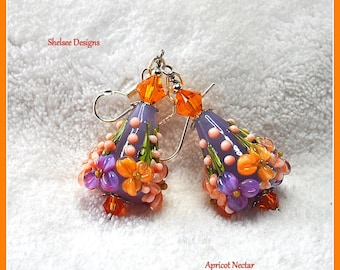 Lavender and Apricot Earrings,Cone Earrings,Lampwork Dangle Earrings,Floral Earrings,Flower Jewelry - APRICOT NECTAR