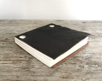 Leather Sketchbook - Repurposed Dark Brown - Small