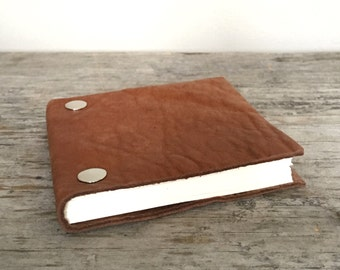 Leather Sketchbook - Repurposed Butterscotch Brown - Small