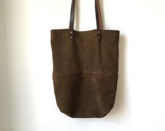 Repurposed Brown Leather Tote Bag