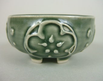 Salt Cellar / Salt Dish / Salt Bowl / Butter Pats / Small Bowl / Ring Holder - Dark Graysh Green
