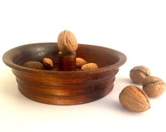 Antique wooden nut bowl