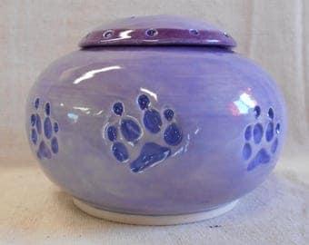 Medium Size Porcelain Dog Paw Urn, Real Dog Paw - Lavender, Pansy Purple, and Pueblo Purple Underglaze