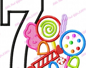 Candy Applique Number 7 - Machine Embroidery Design - 6 sizes