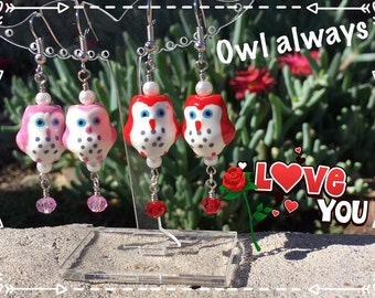 Valentine Owl Dangle Drop Earrings Pink Red, Owl Always Love You