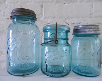 Vintage Ball Mason Jars - Blue