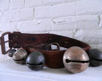 Vintage/Antique Brass Sleigh Bells - Graduated Petal Bells