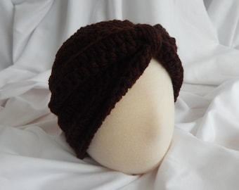 Baby Turban Hat Crochet in Brown - 3 to 6 Months - Makes a Great Photo Prop