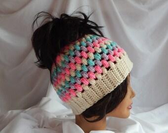 Messy Bun Hat Pony Tail Hat - Crochet Woman's Fashion Hat - Hot Pink, Lavender, Green