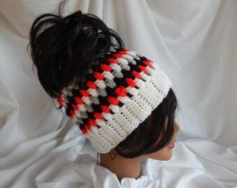 Messy Bun Hat Pony Tail Hat - Crochet Woman's Fashion Hat - Red, Black, Gray, White