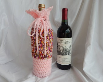 Crochet Wine Bottle Cover Cozy Gift Wrap - Pink with Woven Ribbon and Sparkle Beads