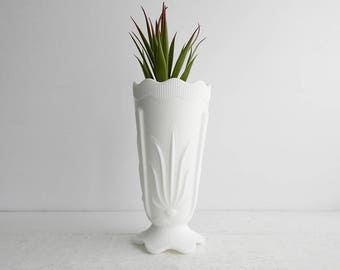 Vintage Fenton Cactus Milk Glass Vase - 7 inches