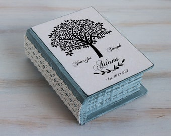 Personalized ring bearer box Rustic ring box Wedding ring box Wedding tree box Gray wedding box Love tree ring box Engagement box Custom Box