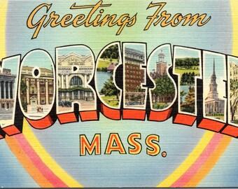 Worcester, Massachusetts - Linen Postcard - Large Letter Postcard - Postcard - Unused (EEE)