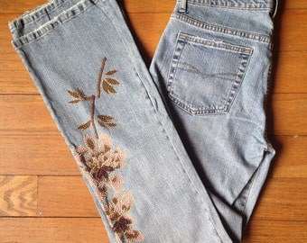 Vintage 90s beaded embellished boot cut jeans