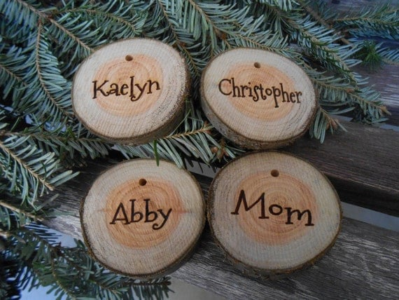 Christmas Name Tags: CHRISTMAS STOCKING NAME Tags. Personalized Wood Round Live