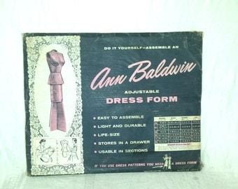 Rare Vintage 1956 Ann Baldwin Adjustable Dress Form