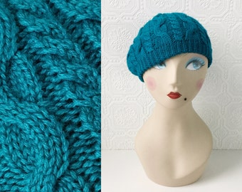Vintage Turquoise Slouch Hat, Blue Cable Knit Beret, Extra Warm Winter Cap, Cozy Hand Knit, One Size fits All, Wool, Men or Women, Size S-L