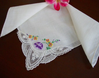 Antique French Hankie Ladies Handkerchief Wedding Hankie