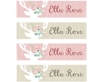 FAST SHIPPING! Clothing Name Tags, Clothing Name Labels, Iron-On, Fabric Name Labels, School Labels, Daycare, Camp, Girl, Floral Antlers