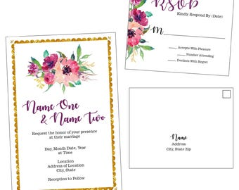 Customizable Scalloped Edge Wedding Invitation & RSVP Postcard - [Digital File ONLY]